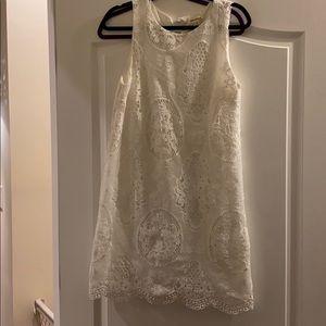 White lace, sleeveless shift dress